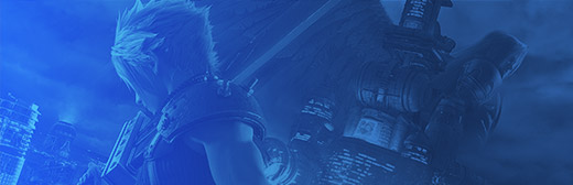 Blue banner that has Cloud from Final Fantasy 7 on it